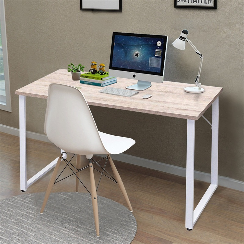 High Quality Sturdy Durable Simplistic Durable Wood Writing Computer Desk Anti-skid Pads Legs Powder Coated Steel Desk Table