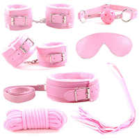7pcs/set Toys for Adults Erotic Handcuffs Bondage Bundle Manacle Mask Leather Whip Bdsm Sex Flogger Exotic Accessories ZO840