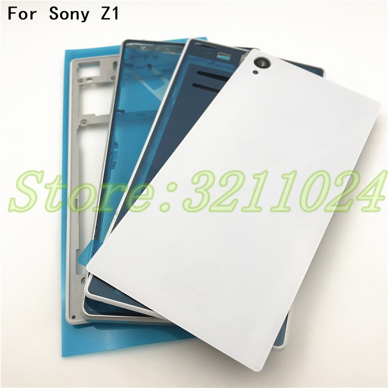 Original For Sony Xperia Z1 L39H C6902 C6903 Front Middle Frame Port Plug Cover Back Glass Battery Cover Full Housing With LogoOriginal For Sony Xperia Z1 L39H C6902 C6903 Front Middle Frame Port Plug Cover Back Glass Battery Cover Full Housing With Logo