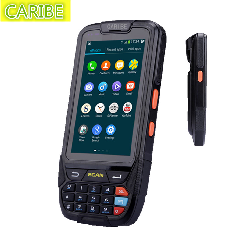 Caribe PL-40L large screen 1d  bluetooth android barcode scanner pda caribe pl 40l industrial pda mini portable nfc memory attendance rfid android integrated with gps 1d barcode scanner