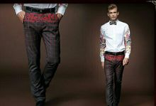 Free Shipping New fashion personality male Men's White Metrosexual long sleeved a set shirt 15229+pants 518009 custom-made