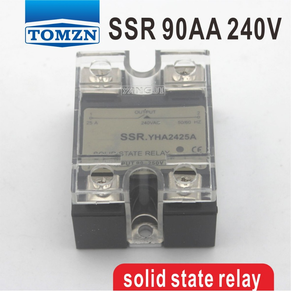 90DA SSR Control 3-32V DC output 12~240VAC single phase AC solid state relay normally open single phase solid state relay ssr mgr 1 d48120 120a control dc ac 24 480v