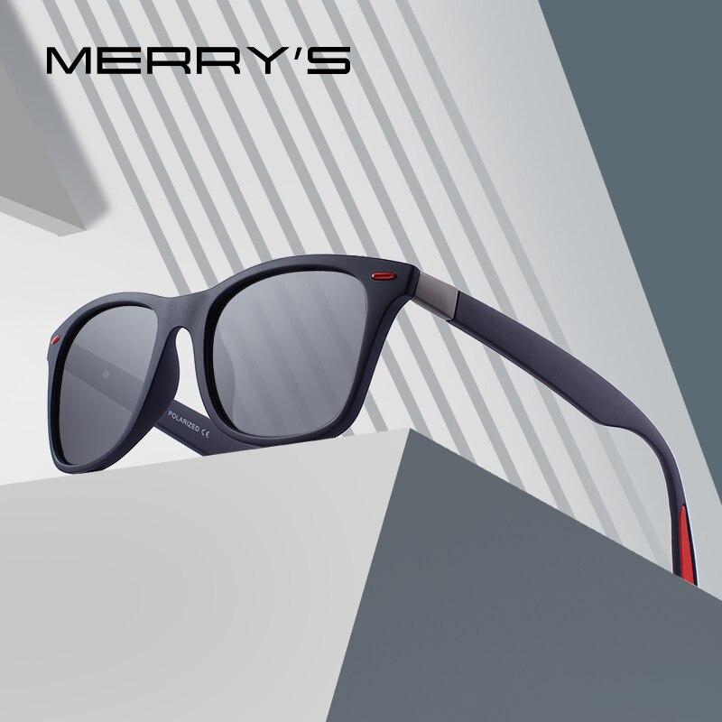 MERRY'S Uomini di DISEGNO Delle Donne Classic Retro Rivet Occhiali Da Sole Polarizzati Occhiali Da Sole di Design Più Leggero Cornice di Piazza 100% di Protezione UV S'8508