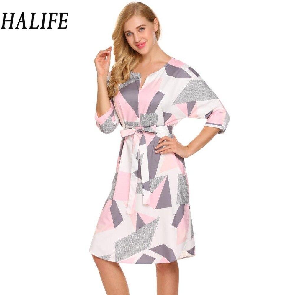 Frauen 2018 Sommerkleid Mode 3/4 Geometrische Muster Belted A linie ...