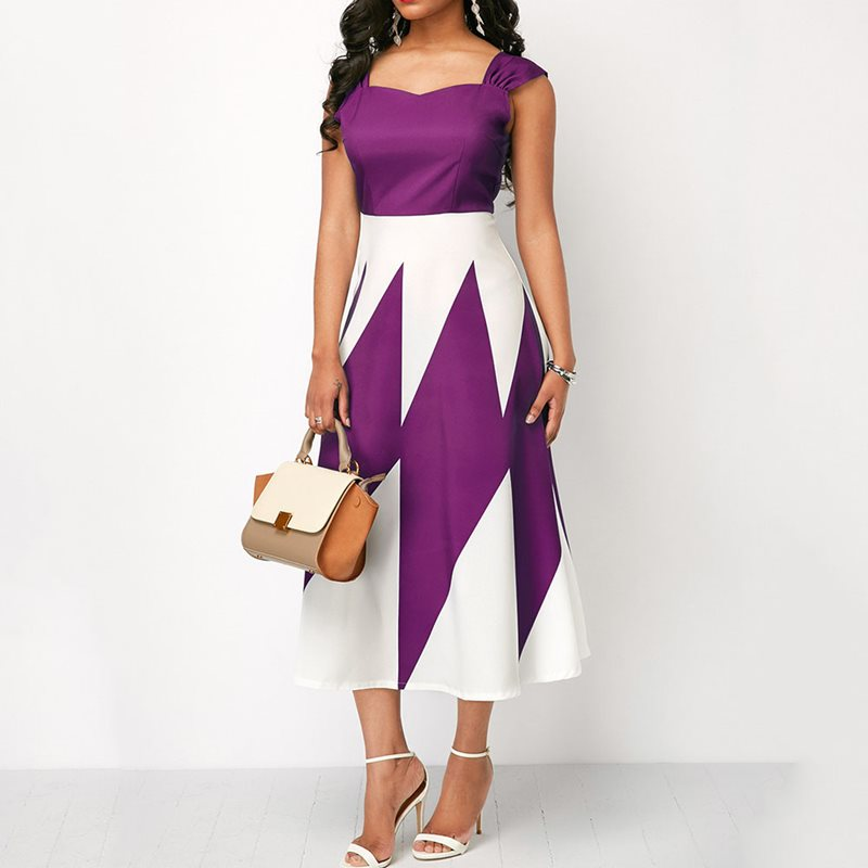 Vintage Elegant African Office Ladies Women Midi Dresses Big Plus Size Party Retro Print Aline Sexy Sleeveless Summer Dress 2019