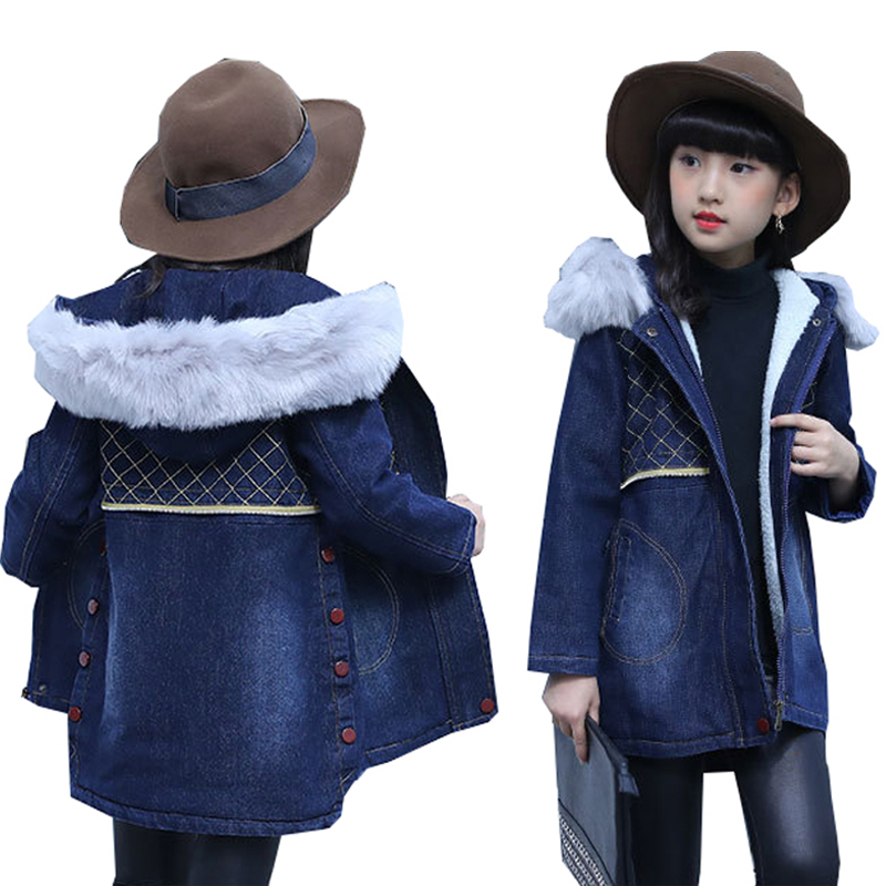 Kids Denim Jacket Winter Jacket for Girls Coat Kids Fur Collar Outerwear Thick Warm Fleece Hooded Children Jacket Long Coats 10T children jacket print flower thick warm faux fur coat kids pretty winter hooded button long jacket for girls autumn girls coat