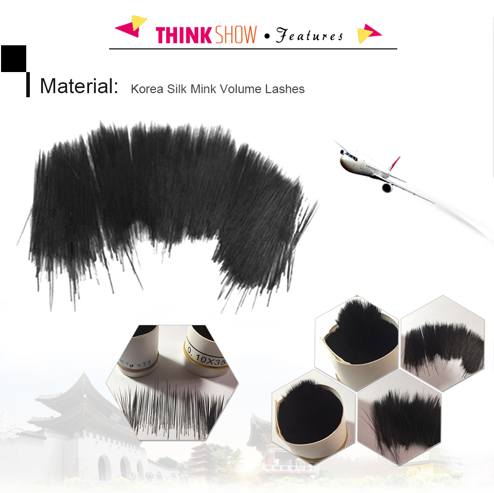 Thinkshow 12 lines 0.05-0.25mm Professional 3D Korean Volume False Eyelash Extension One Strip Tray For makeup