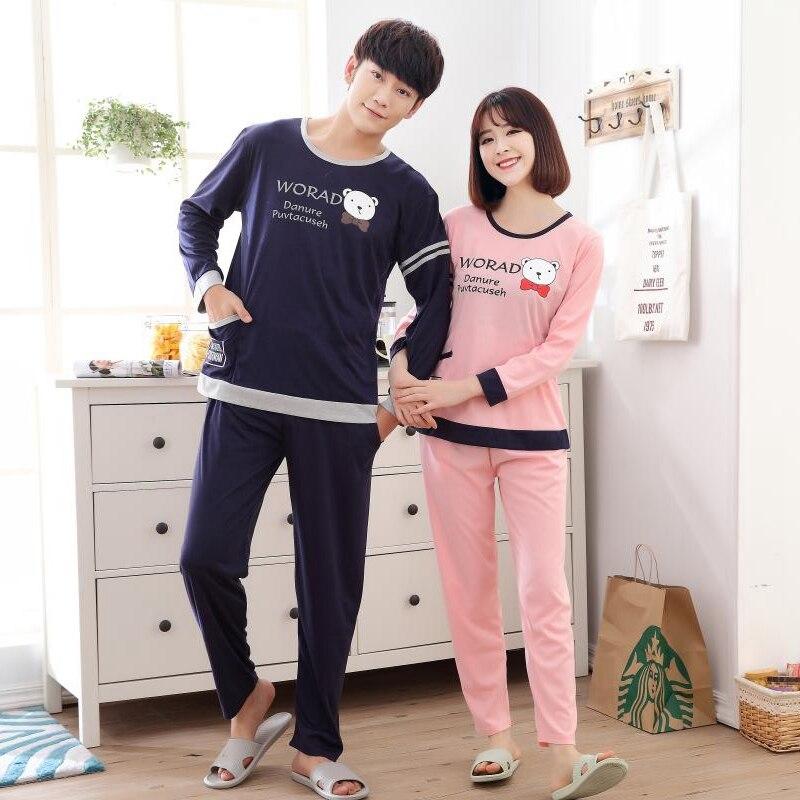 Couples Cotton Homewear Long Pants Pajamas Sets for Women 2018 Autumn Long Sleeve Pyjama ...