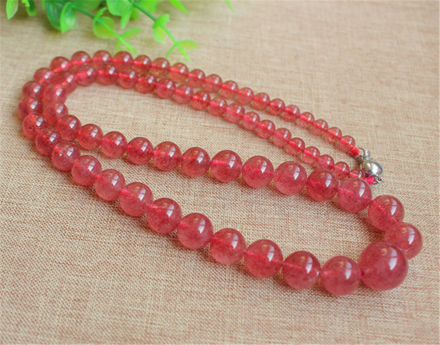 5-16mm Natural Ice Strawberry Quartz Crystal Beads Woman Necklace AAAA5-16mm Natural Ice Strawberry Quartz Crystal Beads Woman Necklace AAAA