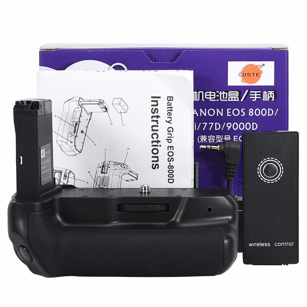 DSTE Vertical Battery Grip for Canon EOS 800D/ T7i/77D/Kiss X9i/9000D DSLR camera equipe with Remote Control ismartdigi lp e6 7 4v 1800mah lithium battery for canon eos 60d eos 5d mark ii eos 7d