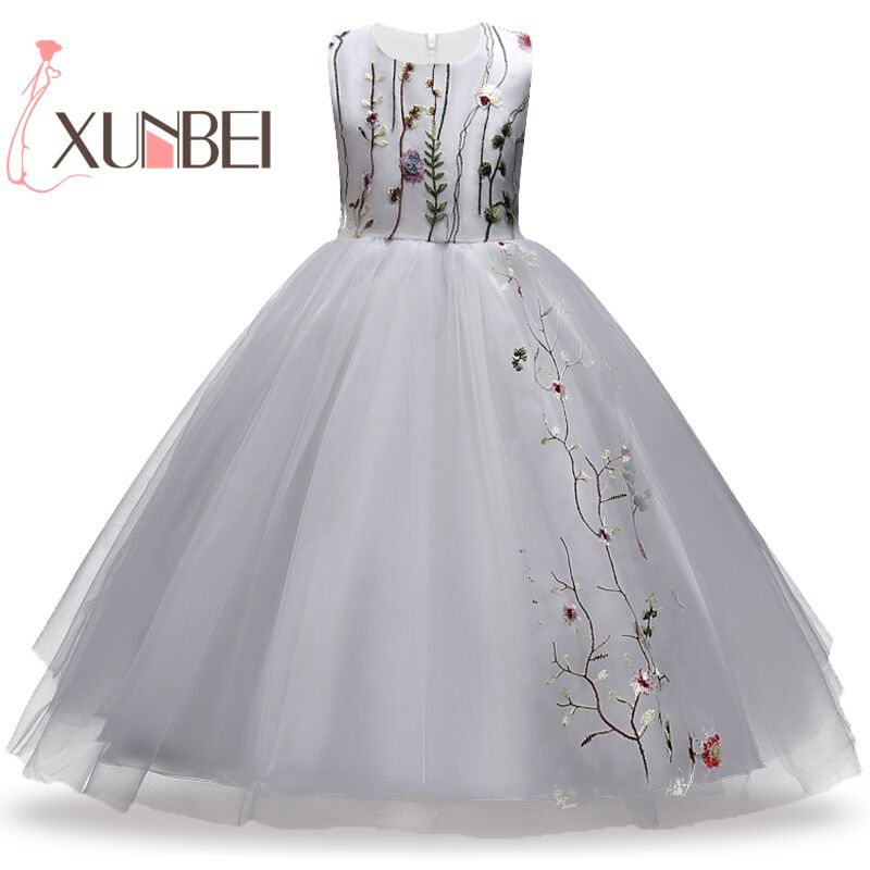 Knee Length Princess Puffy Embroidery Flower Girl Dresses 2018 Tulle Girls Party Gown Pageant Dresses First Communion Dresses