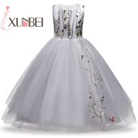 Knee Length Princess Puffy Embroidery Flower Girl Dresses 2018 Tulle Girls Party Gown Pageant Dresses First