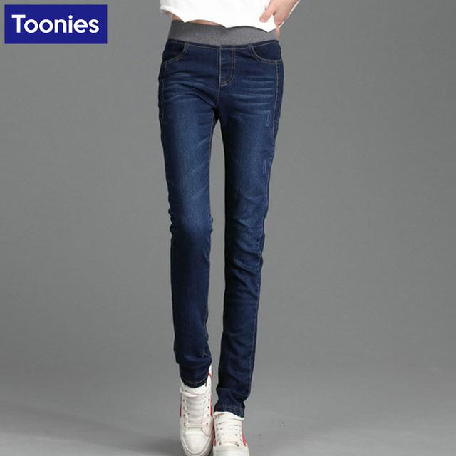 bb993fe0661c1 Elastic Waist Stretch Pencil Pants Women Skinny Jeans Full Length Solid Casual  Jean Trousers Femme Plus