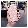 Малый Ромашка Женский Корея Розовый Обложка антидетонационных ТПУ Мягкая Телефон Случаях для iPhone 7 Case