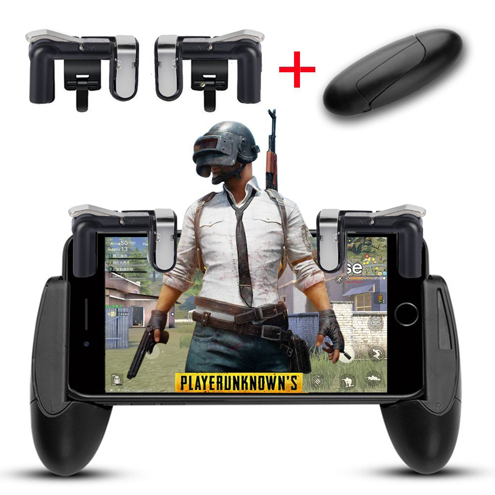 US $7 11 39% OFF Smart Phone Mobile Gaming Gamepad Handle Grip for Knives  out/Rules of Survival/ PUBG Mobile Game Fire Button L/R Gaming Trigger-in