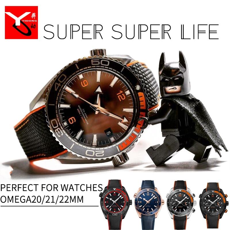 20/21/22mm Bracelets de montre en caoutchouc Silicone avec bracelet de montre en Nylon Perfert pour Omega Seamaster 300 Speedmaster 8900 planète océan