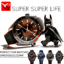 20/21/22mm Rubber Silicone Watch Bracelets With Nylon Watch Strap Perfert For Omega Seamaster 300 Speedmaster 8900 Planet Ocean
