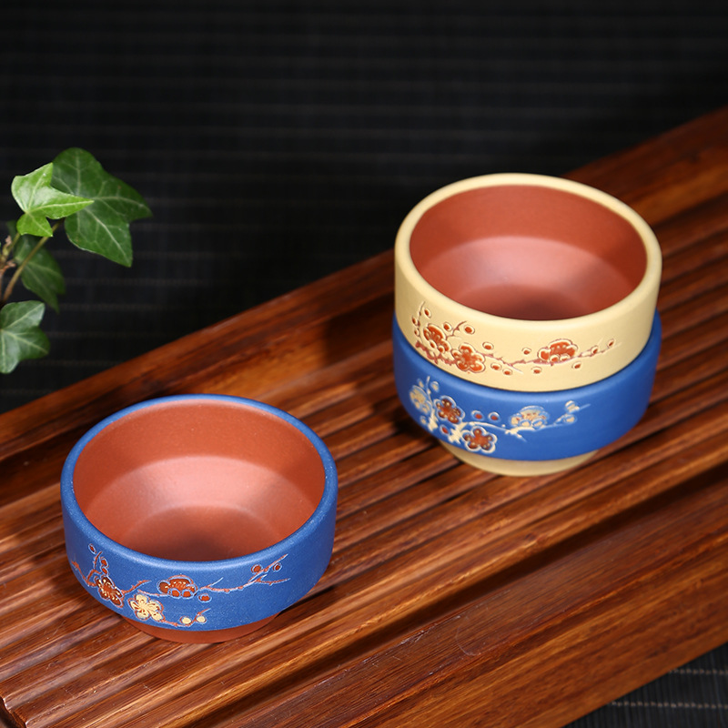 PINNY 90cc Purple Clay Plum Blossom Teacups From Yixing China Hand Carved Heat Resistant Tea Cup Chinese Kung Fu Tea Set in Teacups from Home Garden