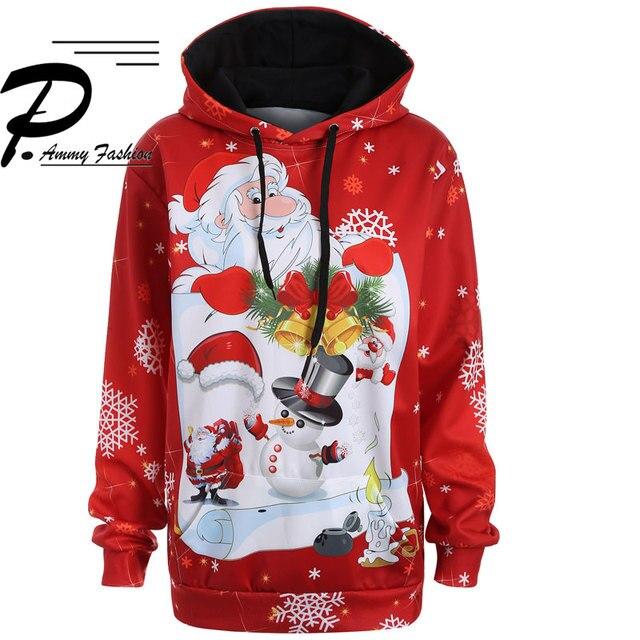Christmas snowman 3d Print Hooded Plus Size Sweatshirt Kangaroo Pocket Hoodie Long Sleeve lagenlook voguees Trend New year Tops