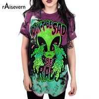 "Raisevern Brand 3D Print Short Sleeve Weird Design ""Don't Be Sad"" Alien T Shirt Women Fashion Tee Funny Style Crying Eye"
