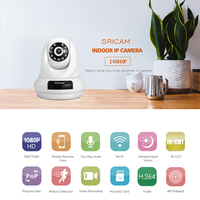 Sricam SP018 WifI IP Camera PTZ 4xDigital Zoom Security Camera Support Micro SD Card CMOS P2P
