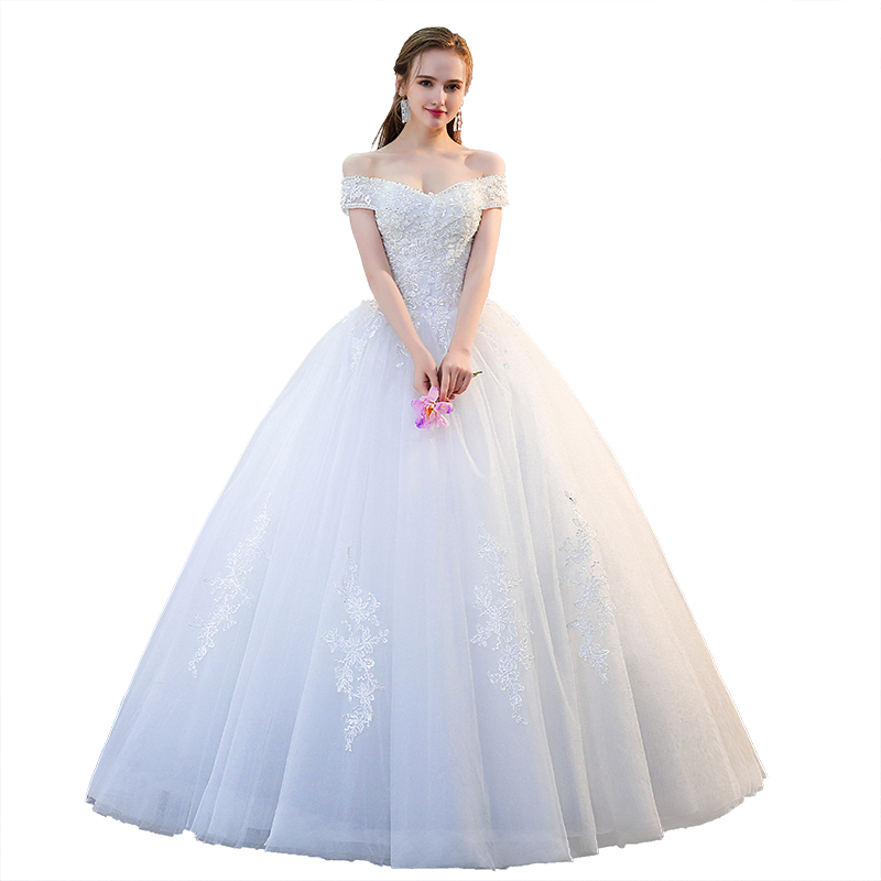 Holievery Boat Neck Tulle Ball Gown Wedding Dress with Appliques 2019 New Short Sleeves Bridal Gowns Robe Mariage