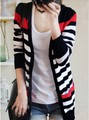 2016 new fashion Women Spring Autumn slim sweater cardigan medium-long stripe sweater outerwear female Free shipping