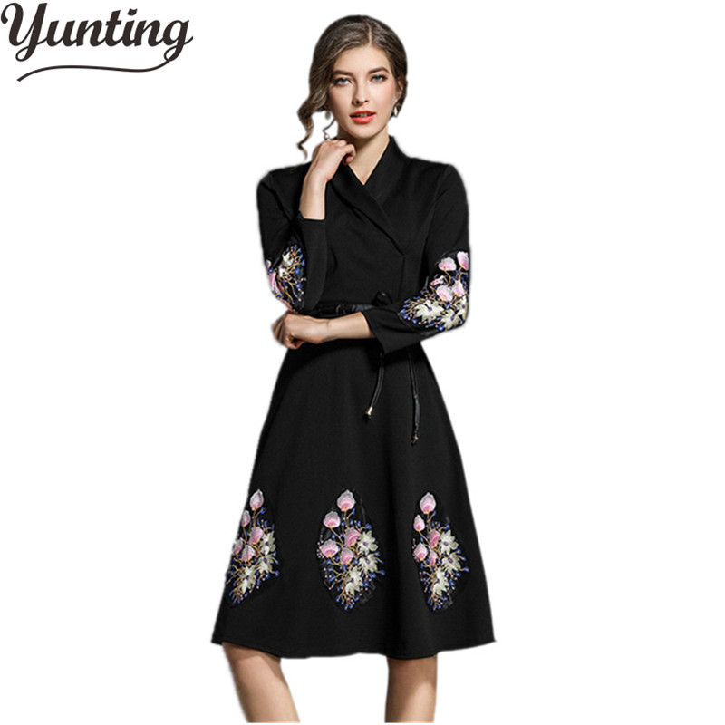 High Quality 2018 Autumn Winter Runway Dress Vintage Women Embroidery Female Dresses