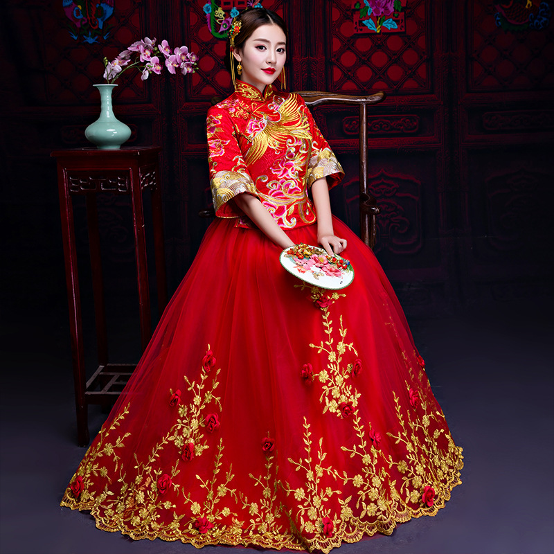 Red Wedding Bride Chinese Style Cheongsam Traditional Lady Long Qipao Embroidery Women/'s Evening Dress marry Clothes S - XXXL