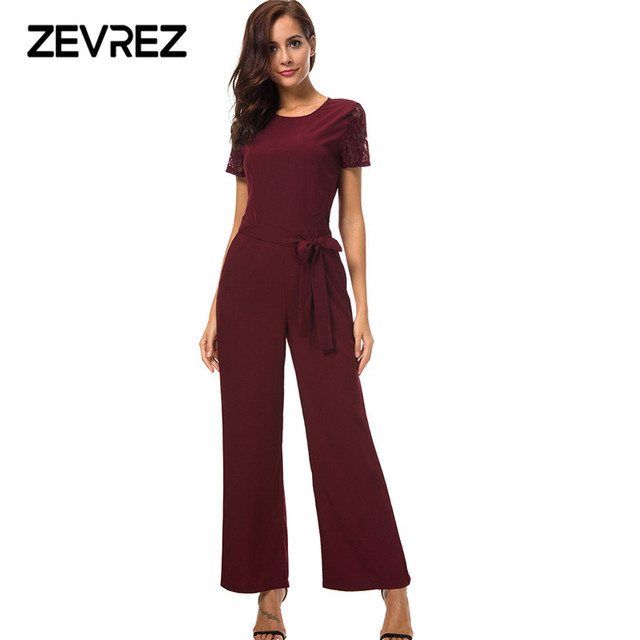 306ee359a0 Zevrez Black Jumpsuit Women Round Neck Lace Short Sleeve Belt Summer  Jumpsuit 2018 Office Work Wear