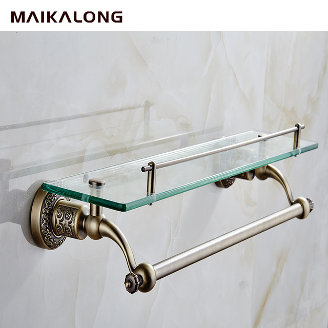 NO.88813 Bathroom Glass Shelf Wall Mount With Towel Bar And Rail, Bronze  Finish