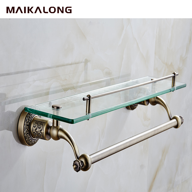 glass bathroom shelf with rail | My Web Value