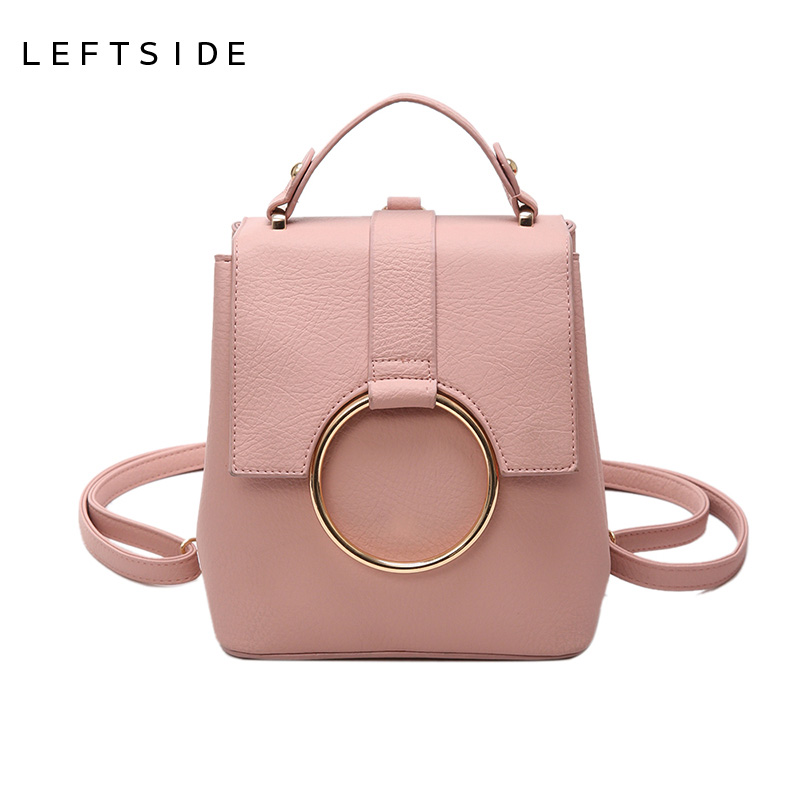 LEFTSIDE 2017 Sweet Mini Pu Leather Backpack Women Retro Pink backpacks Bags Womens small Ring back
