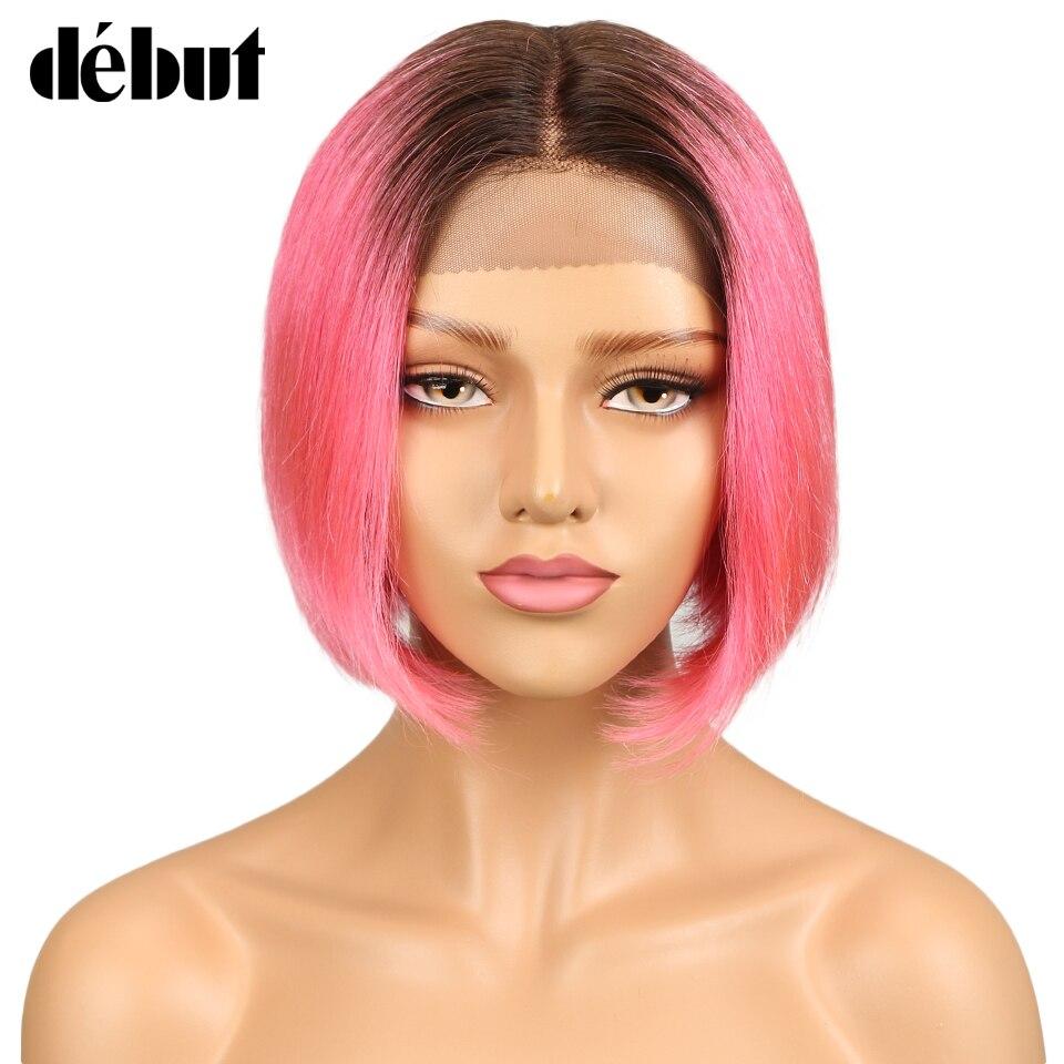 Première perruque de cheveux courte partie de dentelle de cheveux humains perruques pour les femmes noires droite Remy partie de cheveux perruque de dentelle Ombre Bob perruque livraison gratuite