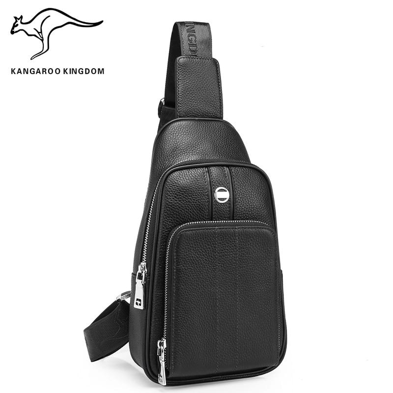 KANGAROO KINGDOM fashion men bag genuine leather casual male crossbody shoulder bags chest сумка cooskin kangaroo 88724 38 ol