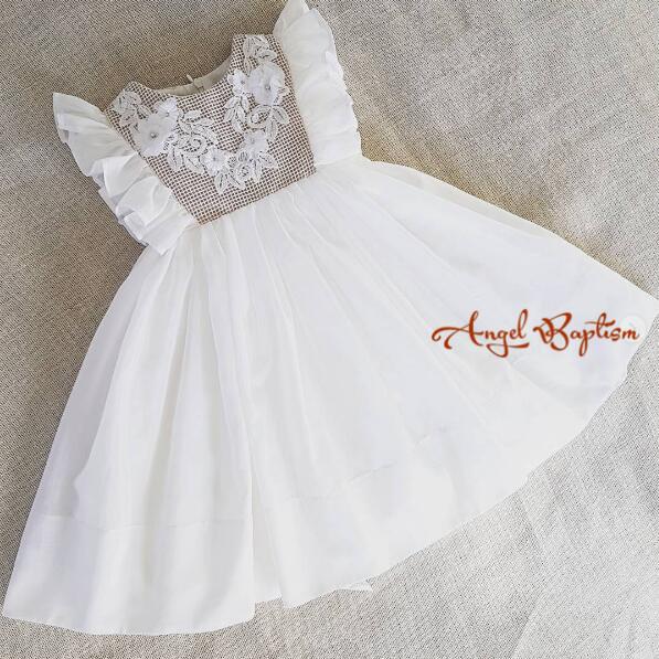 0c4961f84 € 87.91 |Moda bebé bautizo vestido niña primera comunión vestido precioso  bebé bautismo vestidos atado lazo con flores cristales encaje en ...