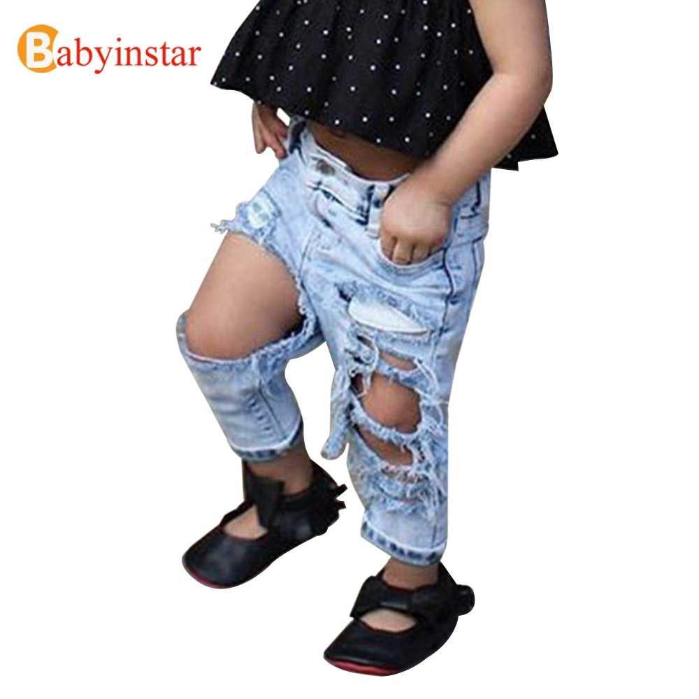 Babyinstar/джинсы для девочек 2018 г. модные джинсы с дырками для девочек летняя верхняя одежда Детский костюм для маленьких девочек, детские джинсовые штаны хорошего качества