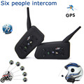 2 pcs V6 BT Multi Interphone Bluetooth Intercom Motorcycle Wireless Headphones Accessories 1200M Helmet Headset 6 Riders
