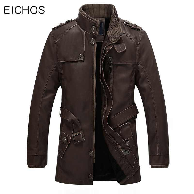 EICHOS Winter Leather Jacket Mens Casual Warm Mens Long Leather Trench Coat Washed PU Leather Motorcycle Jacket Plus size 4XL