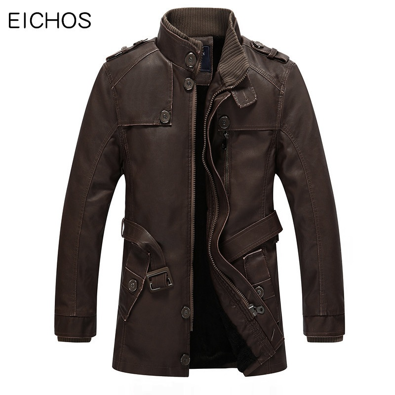 EICHOS Winter Leather Jacket Mens Casual Warm Mens Long