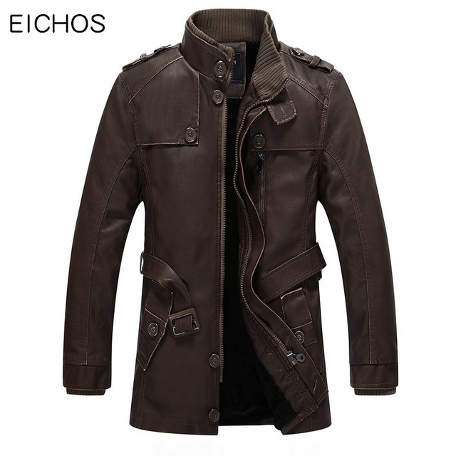 f0b5e360e26 EICHOS Winter Leather Jacket Mens Casual Warm Mens Long Leather Trench Coat  Washed PU Leather Motorcycle Jacket Plus size 4XL
