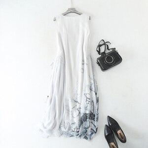 Image 5 - Sukienka kobiety 100% tkanina jedwabna line spadek talii projekt O Neck bez rękawów Sashes 2 kolory elegancka długa suknia moda 2019