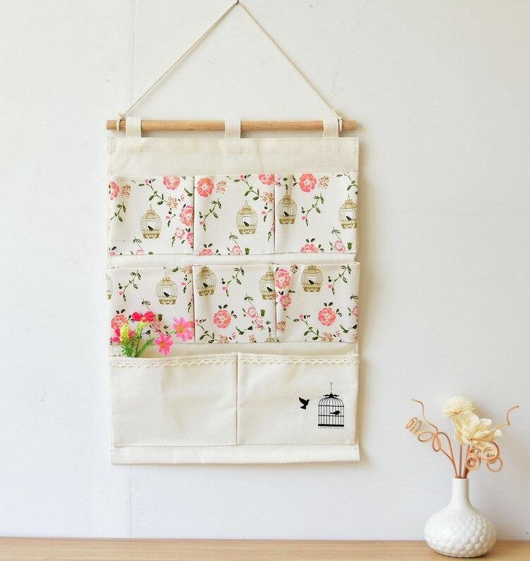 Us 10 45 5 Off New Flower Design Storage Holder 8pocket Letter Wall Hanger Bag Fabric Key Gles In Holders