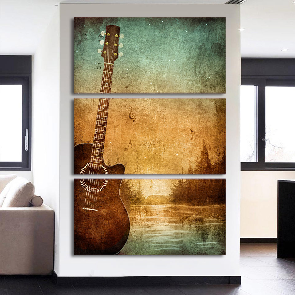 canvas paintings wall art pictures 3 pieces vintage music guitar painting home decor for living. Black Bedroom Furniture Sets. Home Design Ideas