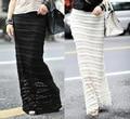 2014 Venta Caliente de Las Mujeres Delgadas Romántica Falda Larga de Encaje de Superposición Doble Capa Negro Marfil Bodycon Fit Maxi Falda de Encaje falda