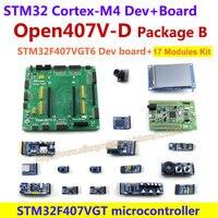 Barato STM32F4DISCOVERY STM32F407VGT6 STM32F407 STM32 brazo Cortex-M4 Placa de desarrollo (Flash de 1 MB) + Kit de 17 módulos = Paquete B Open407V-D
