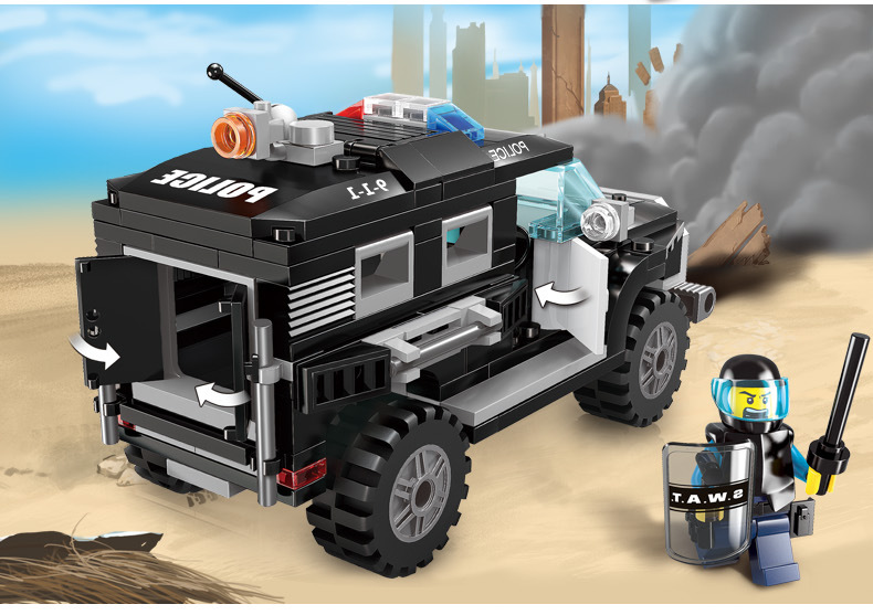 mylb City Series Police Swat Car Building Block sets Kids Educational Bricks  Toys Compatible With diy jie star 29012 swat truck 302pcs diy educational plastic children toys building block sets