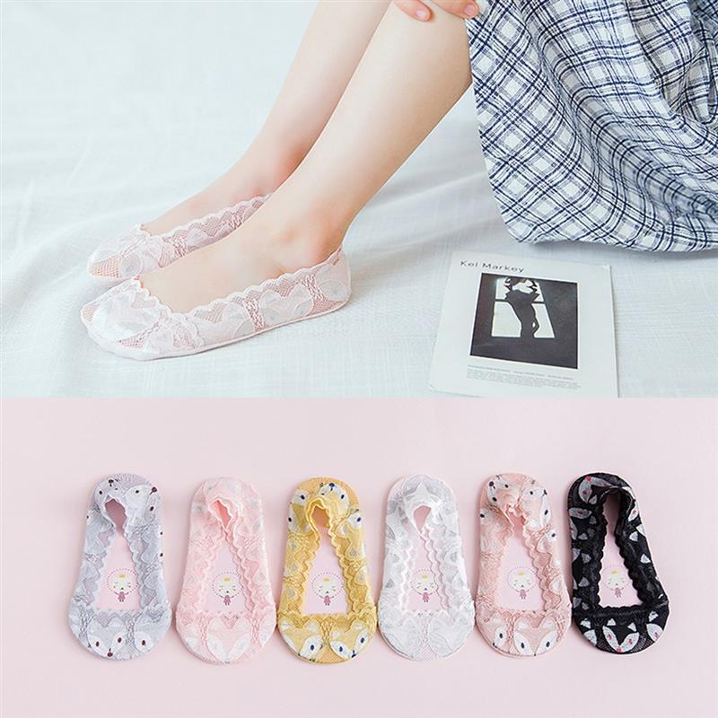 Симпатичные Фокс носки-башмачки детские кружевные хлопковые носки Женские тапочки sokken Нескользящие невидимые Лето Calcetines Детские 2 до 10 лет