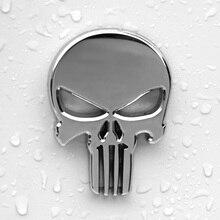Emblema emblema para carros, emblema cromado de caveira de metal adesivo de logotipo