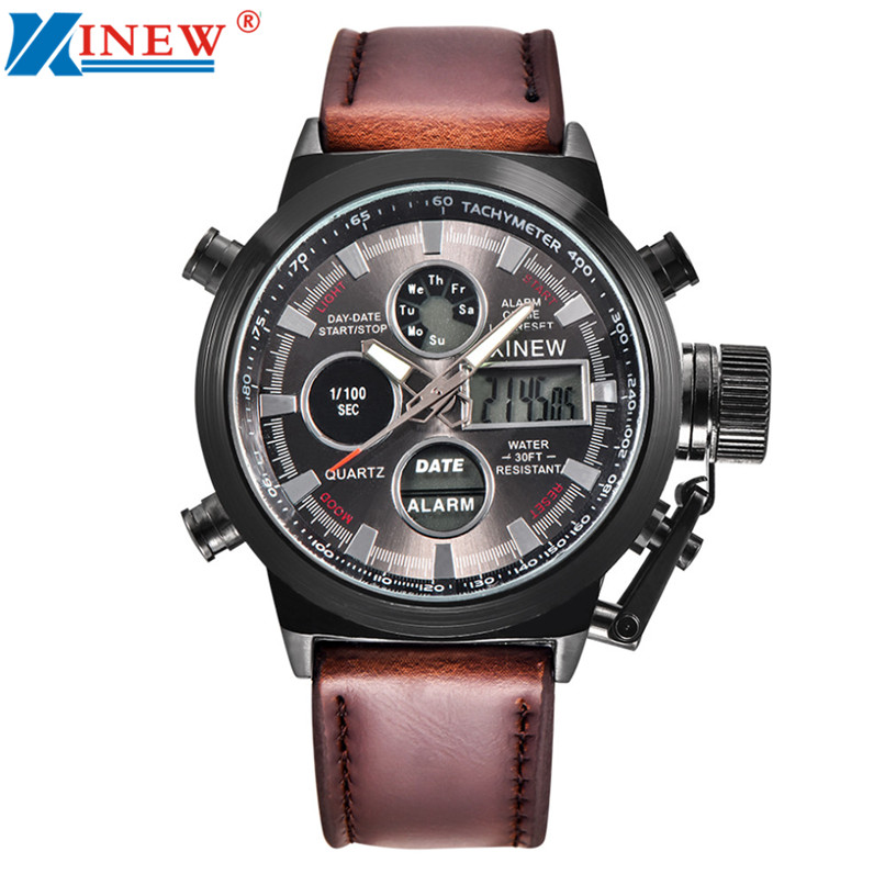 XINEW 2018 Super Quality Mens Quartz Sport Military Army LED Watches Analog Stainless Steel Wrist Watch Business Watch Men v6 super speed v0231 men s fashionable stainless steel casing analog quartz watch 1 x lr626
